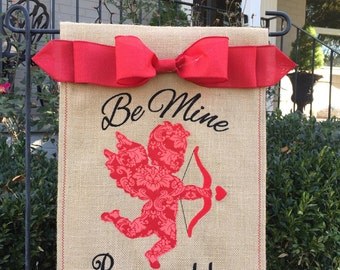 Monogrammed Cupid Valentine Burlap Garden Flag  Personalized with Name
