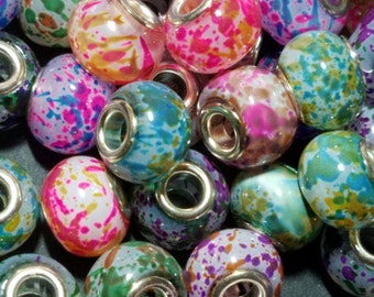 Spray Painted Glass European Beads, with Silver Brass Cores, Large Hole Beads, Rondelle, Mixed Color, 15x12mm, Hole: 5mm 094