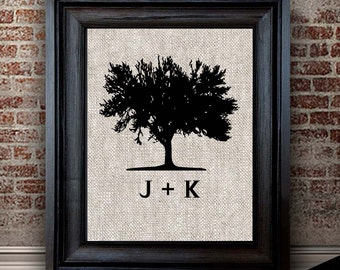 Cotton Anniversary Gift for Her | TREE Print | Newly Engaged Gift | Newly Married Gift | Two Year Anniversary | Initials Print