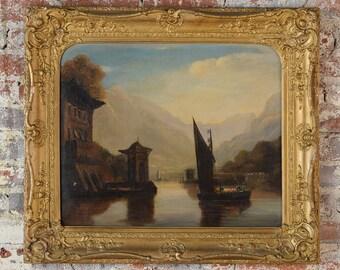 "18th century Italian Romantic Landscape""Lake Como""Oil Painting on Canvas -c1840s"