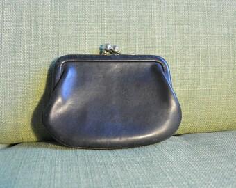 Vintage Coach black kiss lock coin purse