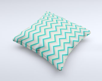 Vintage Subtle Greens Chevron Pattern ink-Fuzed Decorative Throw Pillow