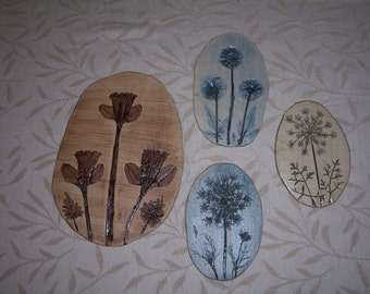 Set of 4 Clay Plaques- Nature Imprints in Clay