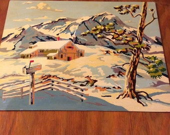 Vintage Snow Scene Paint by Number