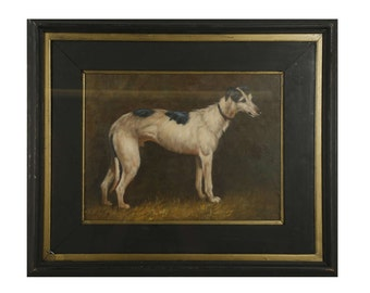 An Oil Painting Study Of A Lurcher Dog