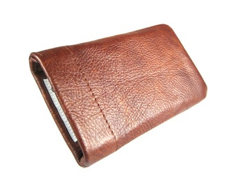 "Customized mobile phone bag old antique leather mobile bag Ipod bag IPhone bag leather bag to measure brown made to measure case ""Dan"""