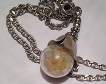 """Totally Unique Solid Sterling Silver 16.2g Vintage Blooming Flower & Natural Fire Opal Globe Gemstone Necklace 18"""" Inches"""