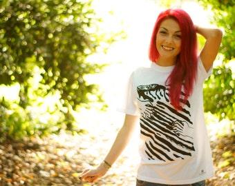 Zebra-hand screen printed tshirt