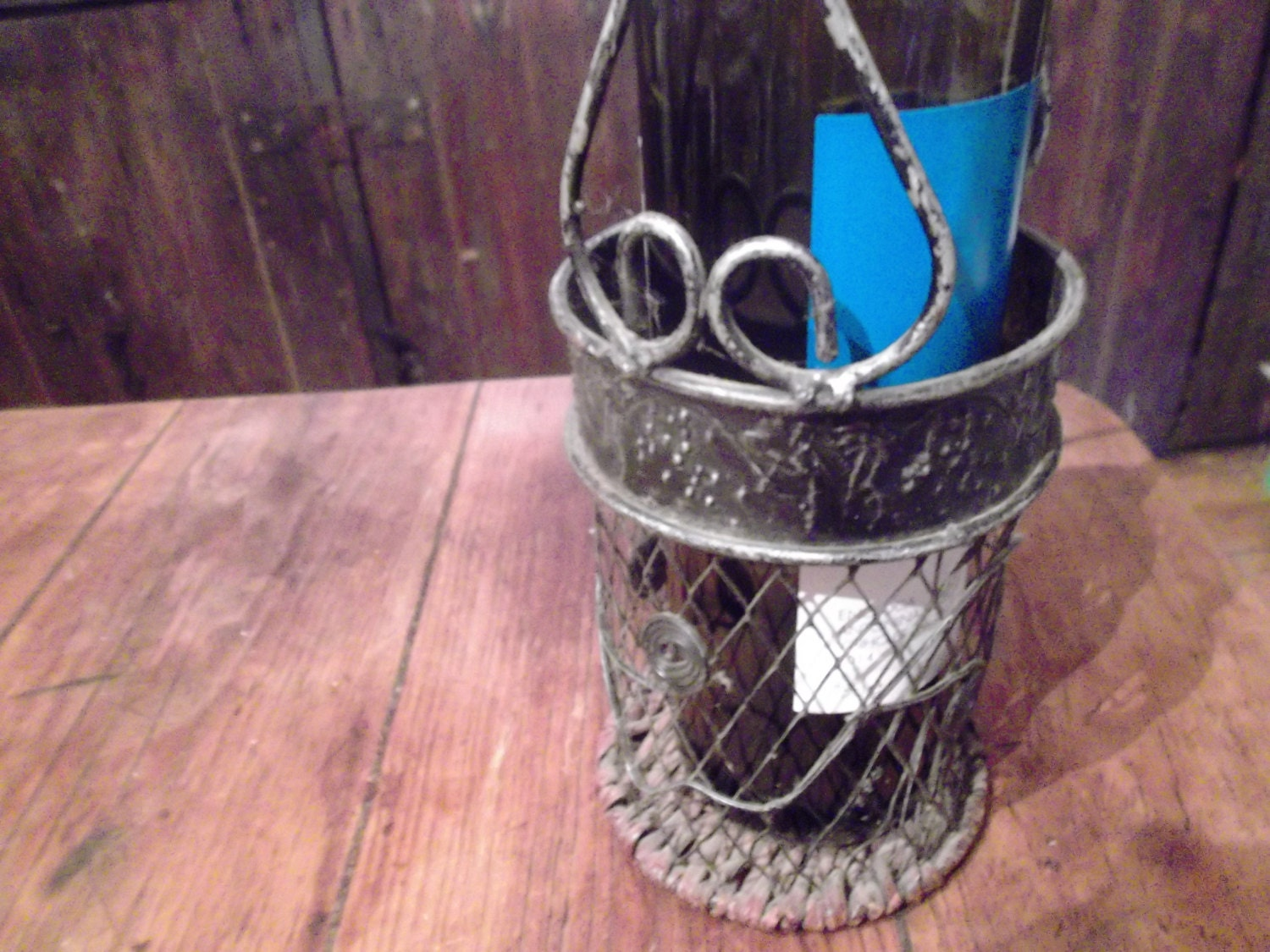 Vintage metal wine bottle carrier with handle and wicker - Wire wine bottle carrier ...
