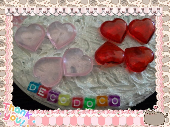 0: )- CABOCHON -( Super Puffy Hearts PINK & Red
