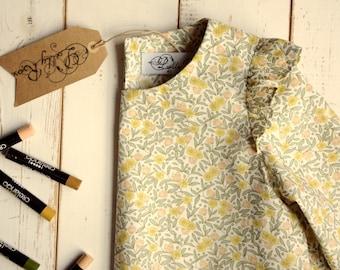 Floral Girls Dress Arm Frill 3/4 Sleeve