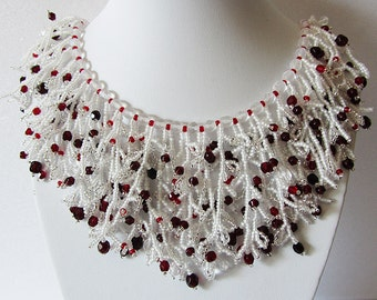 Necklace Berries in the snow - Necklace Handmade - Original volume necklace - Author design- Bead weaving – unique