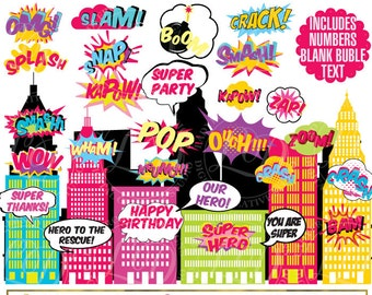 Superhero Girl , Clip Art , Action Words,Comic Sound Effects,SuperHero bubbles,Sounds Sayings, comic book style, Commercial-Personal Use