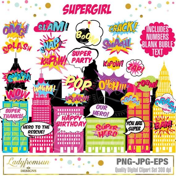 Superhero Girl Clip Art Action WordsComic Sound Effects