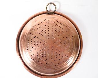 Vintage Copper Strainer - Punched Holes Copper Strainer