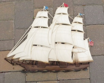 Mid Century Syroco Tall Ship Wall Plaque - Vintage 1960's Syroco Clipper Ship
