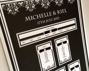Black and Ivory Wedding Table Plan, Black Tie Seating Plan, Seating Chart