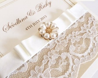 20 x Lace & Pearl Wedding Invites Luxury, Satin Ribbon Bow and Embellishment Invitations (larger quantities available)