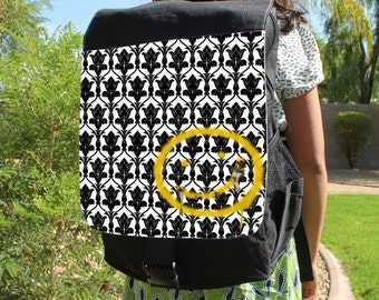 "SHERLOCK  ""Bored! Smiley"" Canvas Backpack Bag"