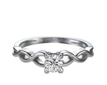 0.50ct White Sapphire Engagement Ring White Gold 14K Braided Round