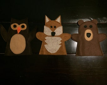 Felt Hand Puppet, Set of 3 Woodland Animals: Brown Bear, Owl, Fox