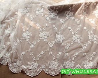 White lace fabric Flower Embroidery Fabric ,Cotton Lace Fabric ,Floral wedding lace fabric