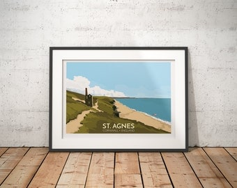 St. Agnes, Cornwall, England, UK -  A2 travel poster print