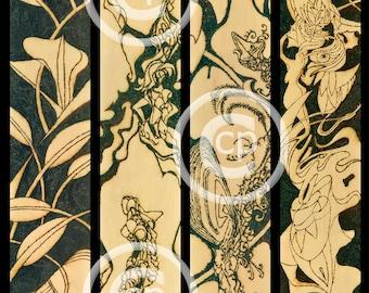 Quadriptych / Solar Art - Solar Etching - Solar Pyrography / Woodburned Art / Striking High Resolution Print