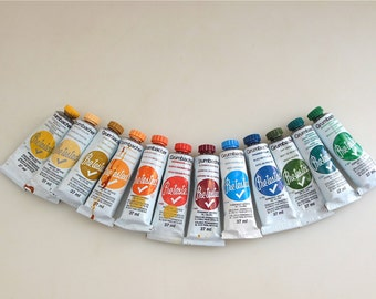 16 Grumbacher Pretested Oil Colors Lot of 16 Tubes Oil Paints  Grumbacher Painters Palette Pre-Tested Pre Tested