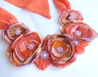 Tropical Flower Fabric Necklace, Orange Flowers, Floral Jewelry, Textile Jewelry, Fiber Necklace, Bib Necklace, Hypoallergenic, Statement