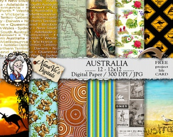Australia Digital Paper; Koala, Kangaroo, Australian Flowers, Waltzing Matilda, Beach, Aboriginal, Vintage AU Map, Scrapbooking Background