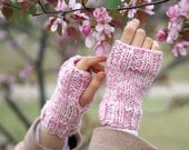 Hand Warmers: Joy Classic Fingerless Gloves, Pink Ivory Hand warmers, Arm Warmers - Woman's size - Pink Ivory - Merino Wool