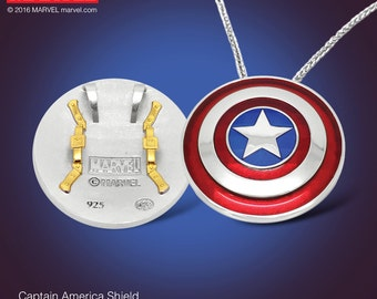 Captain America Shield Pendant in Sterling Silver & Gold, Official Marvel Collectible