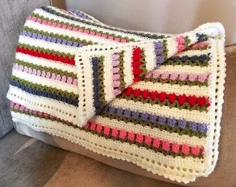 Handmade crochet tulip baby blanket