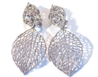 Clip-on Earrings Filigree Earrings Silver tone Dangle Earrings 2.25 inch long 1.5 inch wide Lightweight Clip Earrings