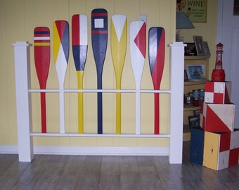 Nautical Full Headboard (free shipping), Shabby Headboard, Paddle Headboard, Cottage headboard, Flag Headboard