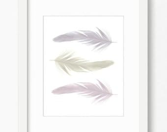 Feather print, feather art, bohemian decor, instant download, printable art, feather printable, boho decor, feather wall art, gray wall art