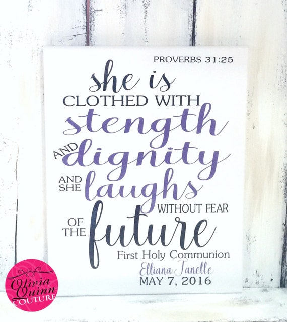 She Is Clothed With Strength And Dignity Canvas: She Is Clothed With Strength And Dignity By OliviaQuinnCouture
