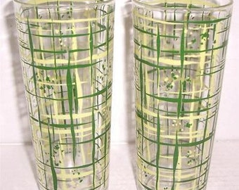 Vintage (2) 1970's Retro Tall Slender Abstract Designed Glass Tumblers