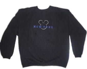 Disney Mickey Mouse Black White Purple Jumper Pullover Sweater Sweatshirt