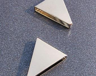 20x17x4mm Silver Triangle Tube Bead Slider Charm Modern Jewelry Supply 8 pcs