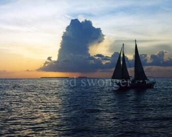 Key West Sunset and Sailboat
