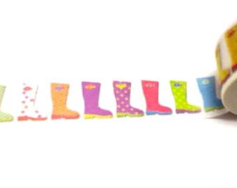 Rain Boot Washi Tape, Washi Tape, Rain Boots, Planner Washi, Planner Tape, Scrapbook Supplies, Planner Supplies,Wellies Washi Tape