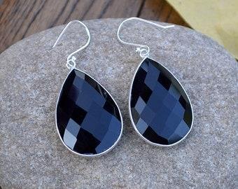 Heart Black Onyx Dangle Earrings, Onyx Bezel Gemstone Earrings, Onyx Gemstone, Briolette Earrings,Brides Wedding, Sterling Silver Earrings