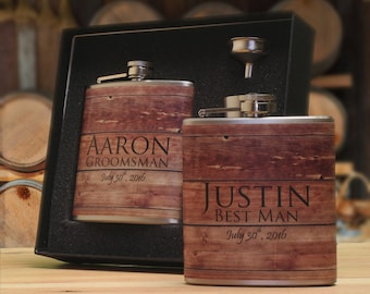 6 Personalized Faux Barn Siding Flask Sets Groomsmen Gifts