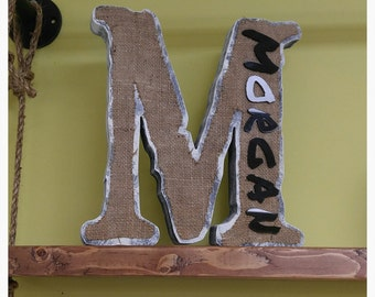 Distressed Monogram Letter with name Burlap Personalized Decor