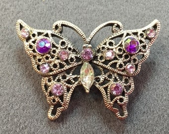 Dainty Purple Rhinestone Butterfly Brooch