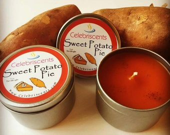 Sweet Potato Pie Scented Soy Candle that will have you run back to the dinner table.  True-to-smell of Sweet Potato Pie scent with cinnamon.