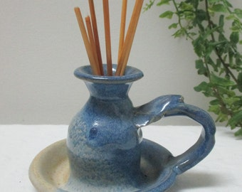 Vintage Blue Glazed Clay Pottery Hand Thrown Scented Oil Diffuser