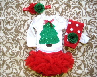 Baby Girl Christmas Tree outfit,Christmas Outfit baby girls,Christmas Photo shoot,Baby First Christmas,Christmas Tree shirt,Holiday Tree Set